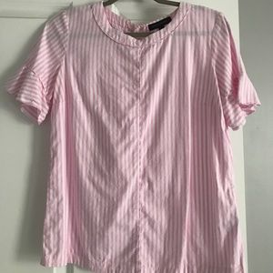 Banana Republic white and pink linen blouse